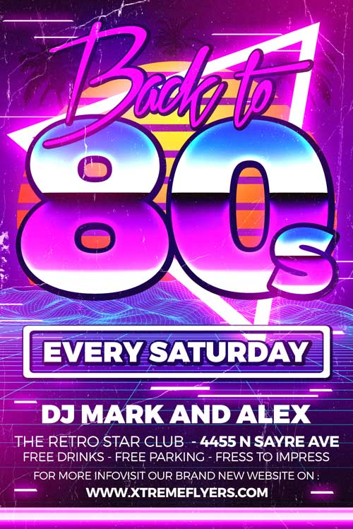 80s Retro Party Flyer Template - XtremeFlyers