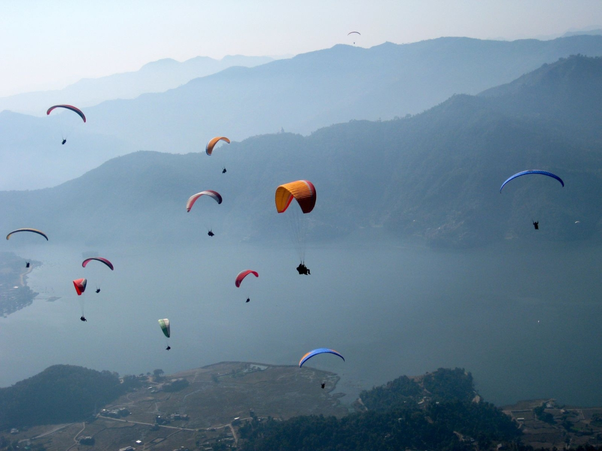 Ireland Fall Wallpaper Paragliding Phewa Lake Pokhara Nepal