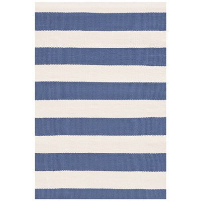 Catamaran Stripe Denim Ivory Indoor Outdoor Rug