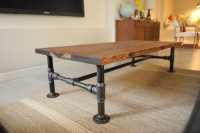 DIY Industrial coffee table with plumbing pipe base. 2 ...