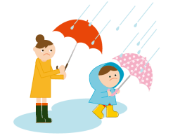 傘をさす親子 イラスト