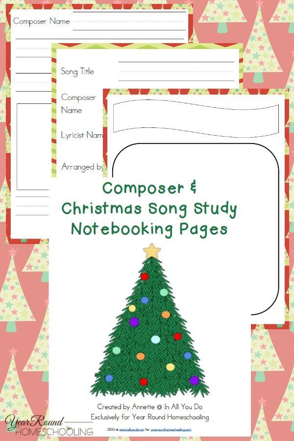 Using Christmas Music in Your Homeschool + Notebooking Pages - Year