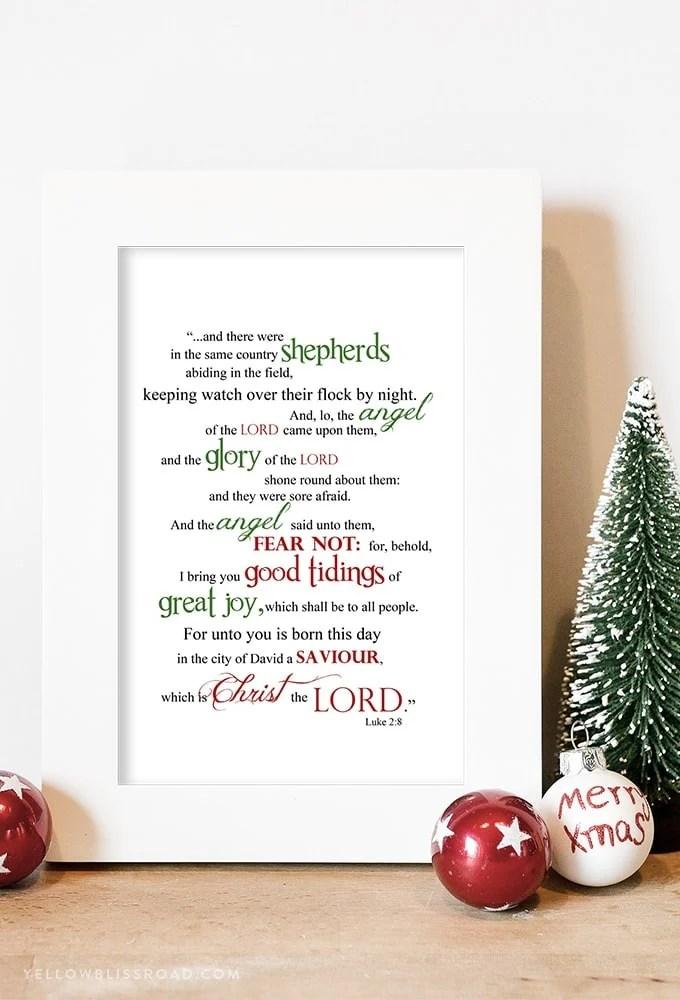 Free Christmas Printable Luke 28 Word Art YellowBlissRoad