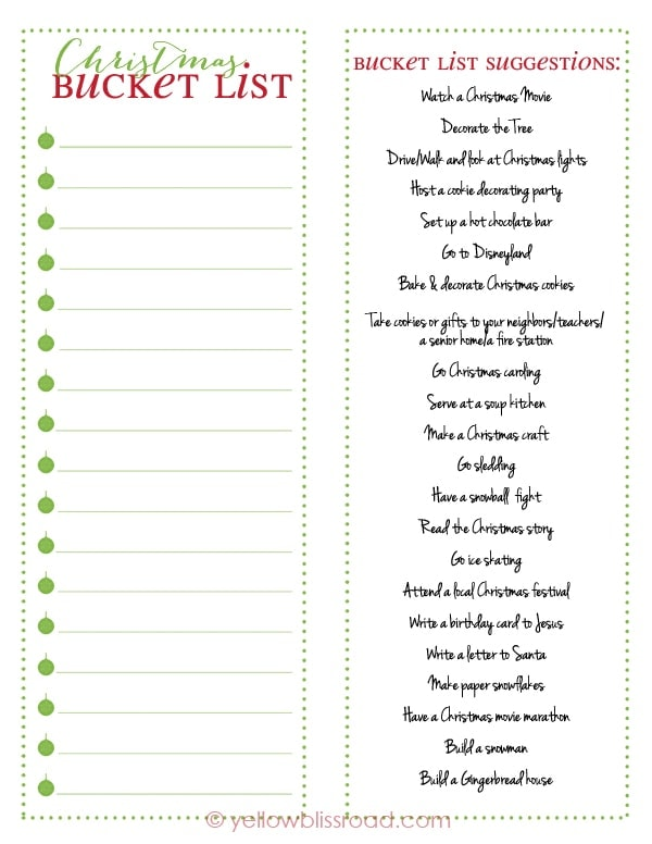Christmas Bucket List Free Printable - Yellow Bliss Road