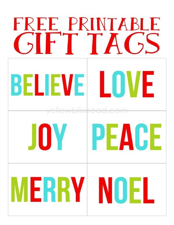 Free Printable Christmas Gift Tags - Yellow Bliss Road