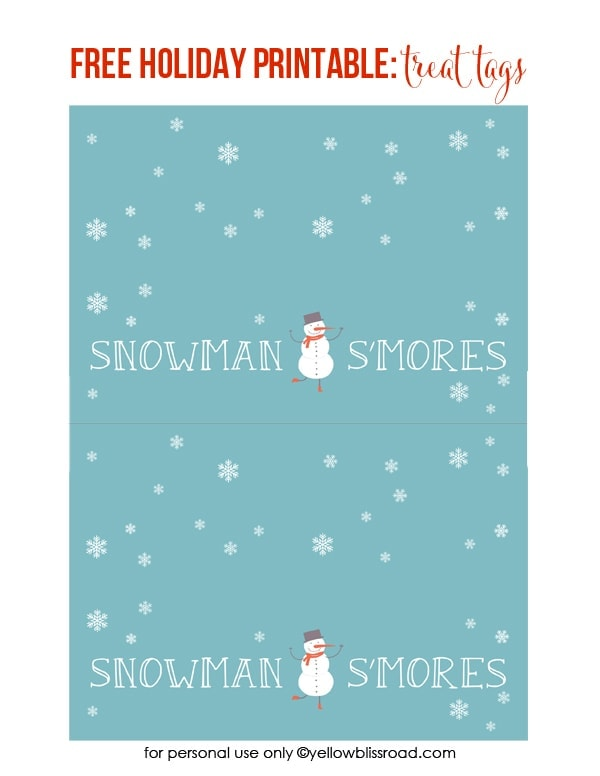 Snowman S\u0027Mores Treat Bags with Free Printable - Yellow Bliss Road