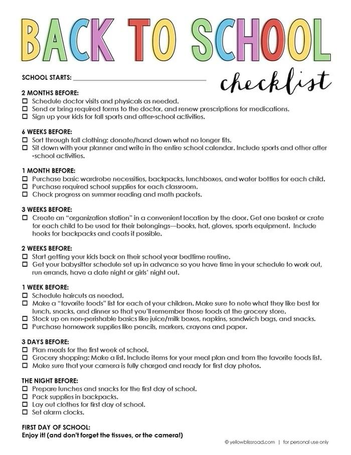 Free Printable Back to School Checklist - Yellow Bliss Road - free printable progress notes