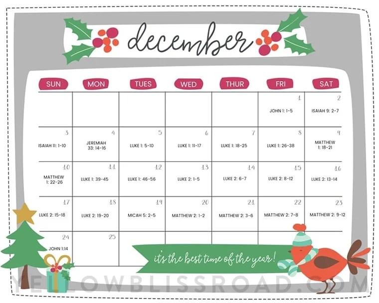 Free Printable Christmas Countdown Calendar for December 2 Versions