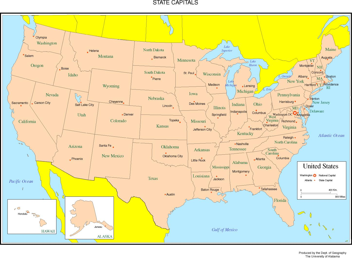 map of the fifty states of the united states