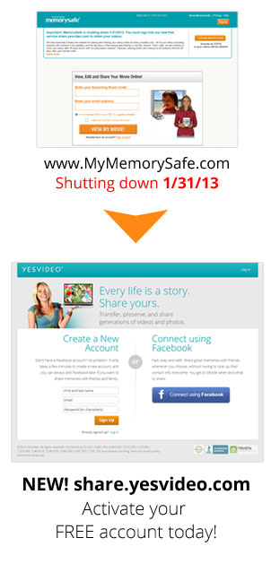 MemorySafe to share.yesvideo.com