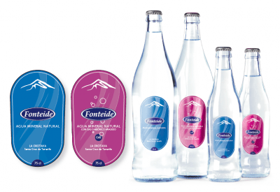 Etiquetas para la línea de Agua Mineral Natural Fonteide en Cristal