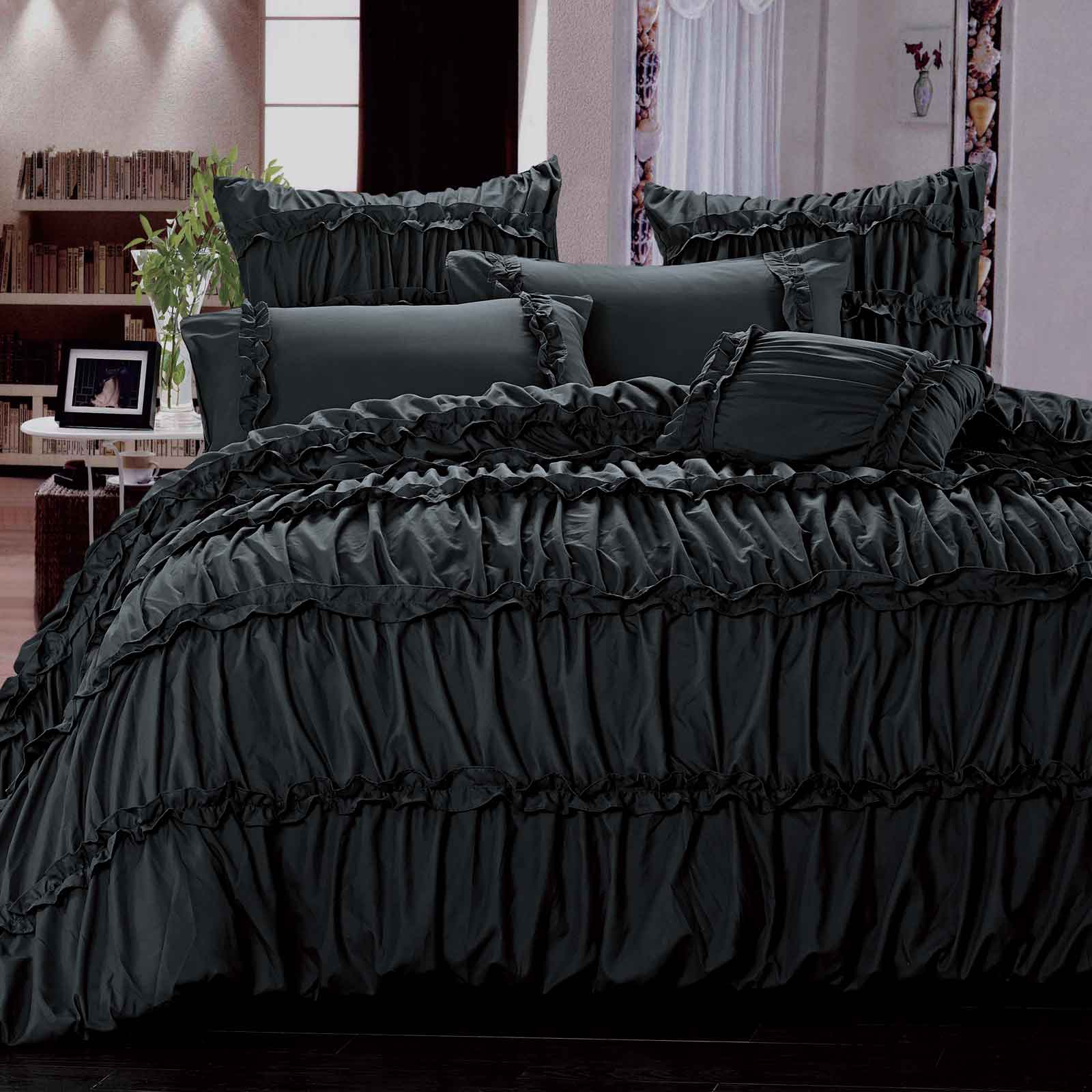 Charlotte Black Ruffle Ruched Queen / King Quilt Cover Set