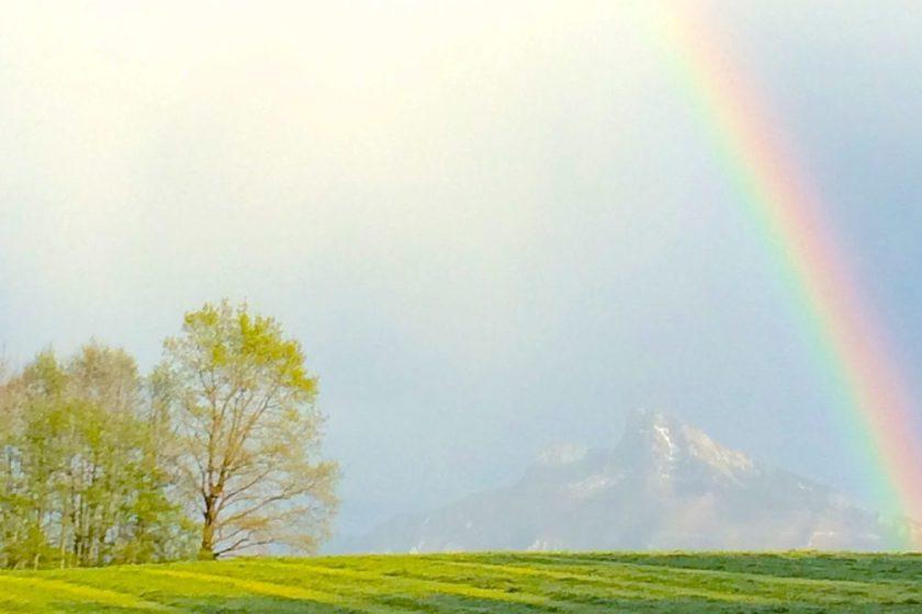 YOGA unterm Schafberg Regenbogen