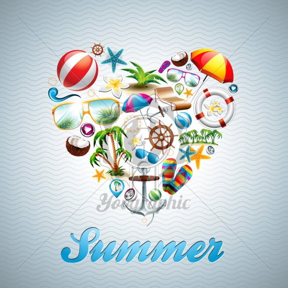 Vector Love Heart Summer Holiday design set on wave background