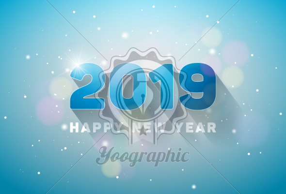 Happy New Year 2019 Illustration with 3d Number on Shiny Lighting