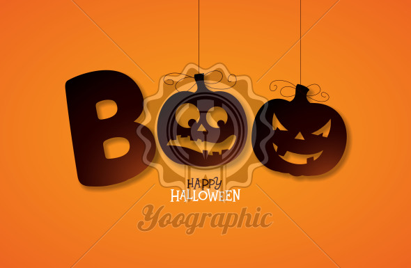Boo, Happy Halloween design with typography lettering on orange