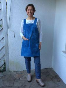 Apron made using indigo hand-dyed organic cotton twill.