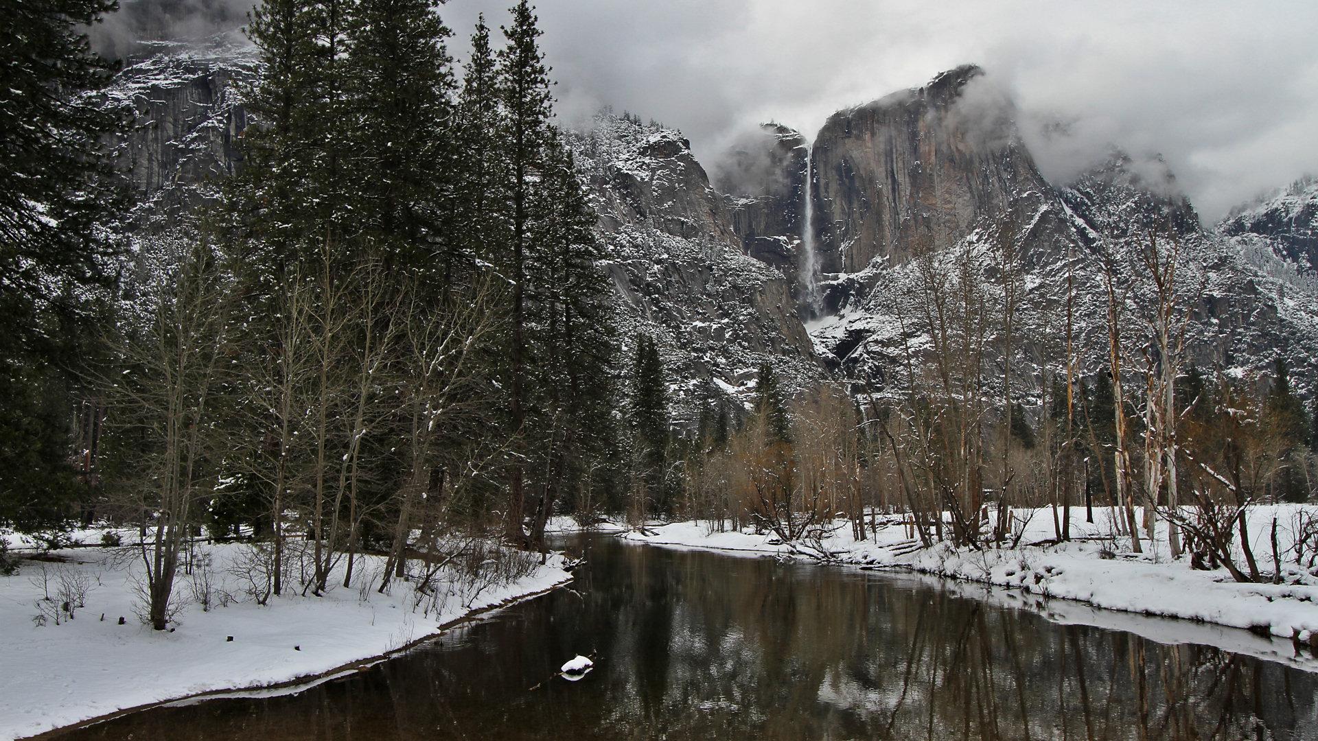 Wallpaper Falling Off Yosemite Wallpaper The Swinging Bridge In Winter