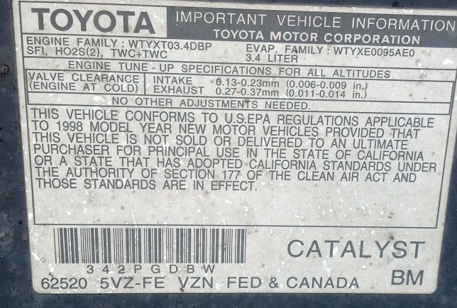 1998 4runner 34 Emissions Sticker Drama Yotatech Forums