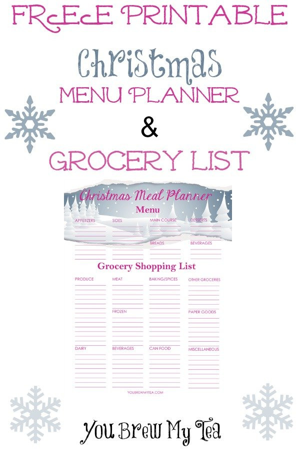 Free Printable Christmas Menu Planner  Grocery List -