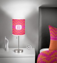 "Pink & Orange Chevron 7"" Drum Lamp Shade (Personalized ..."