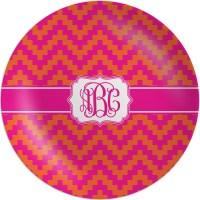 Pink & Orange Chevron Melamine Plate (Personalized ...