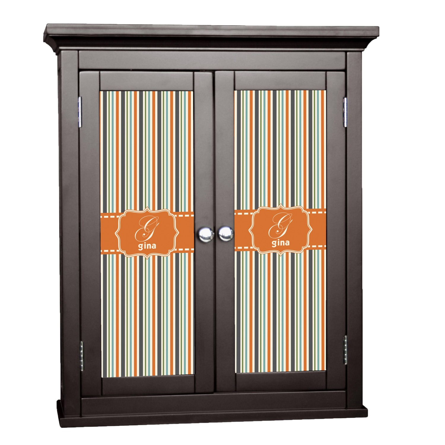 Orange Blue Stripes Cabinet Decal Custom Size
