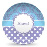 Purple Damask & Dots Microwave Safe Plastic Plate ...