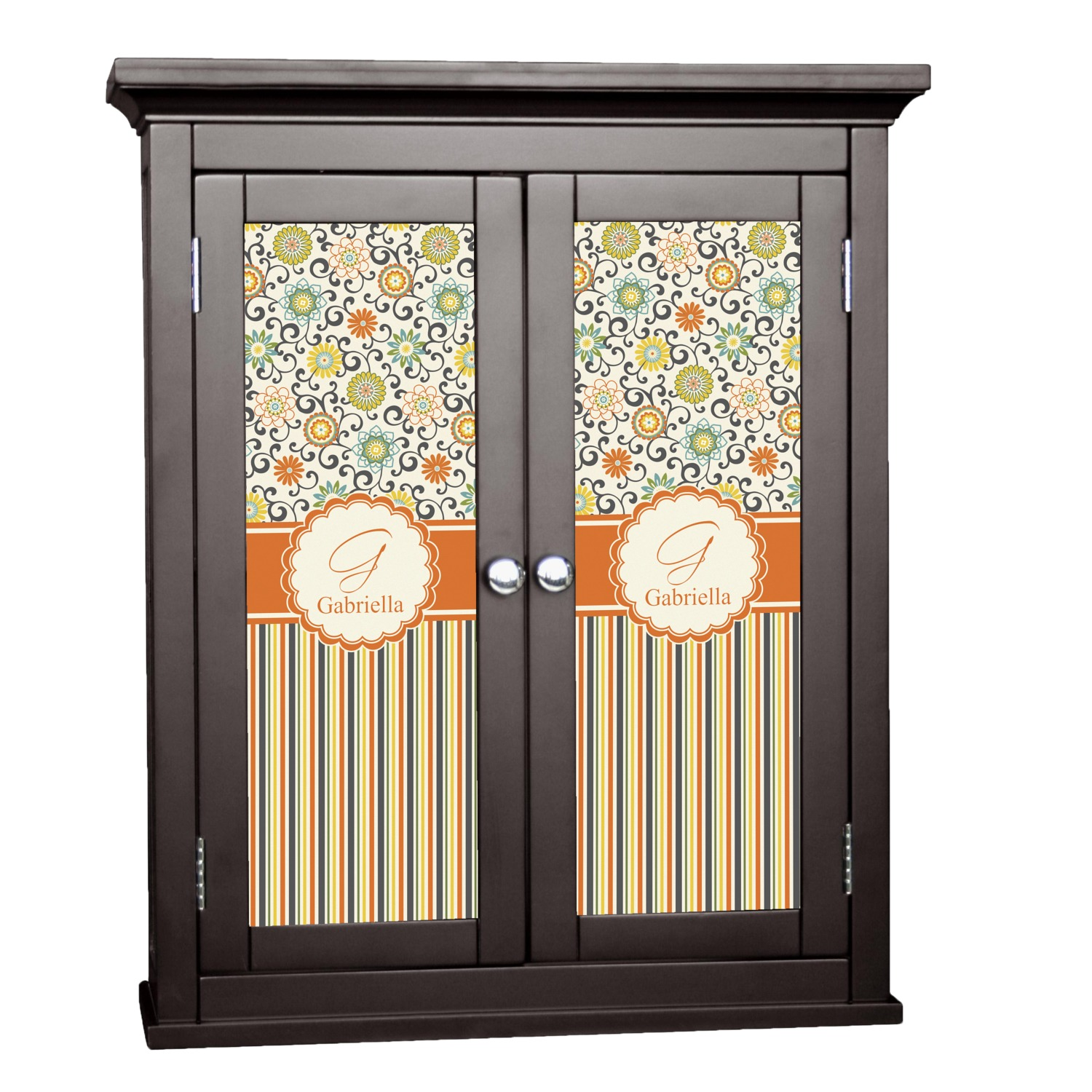 Swirls Floral Stripes Cabinet Decal Large