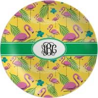 Pink Flamingo Melamine Plate (Personalized) - YouCustomizeIt