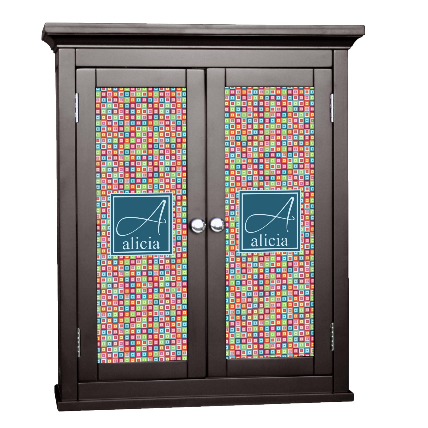 Retro Squares Cabinet Decal Custom Size Personalized