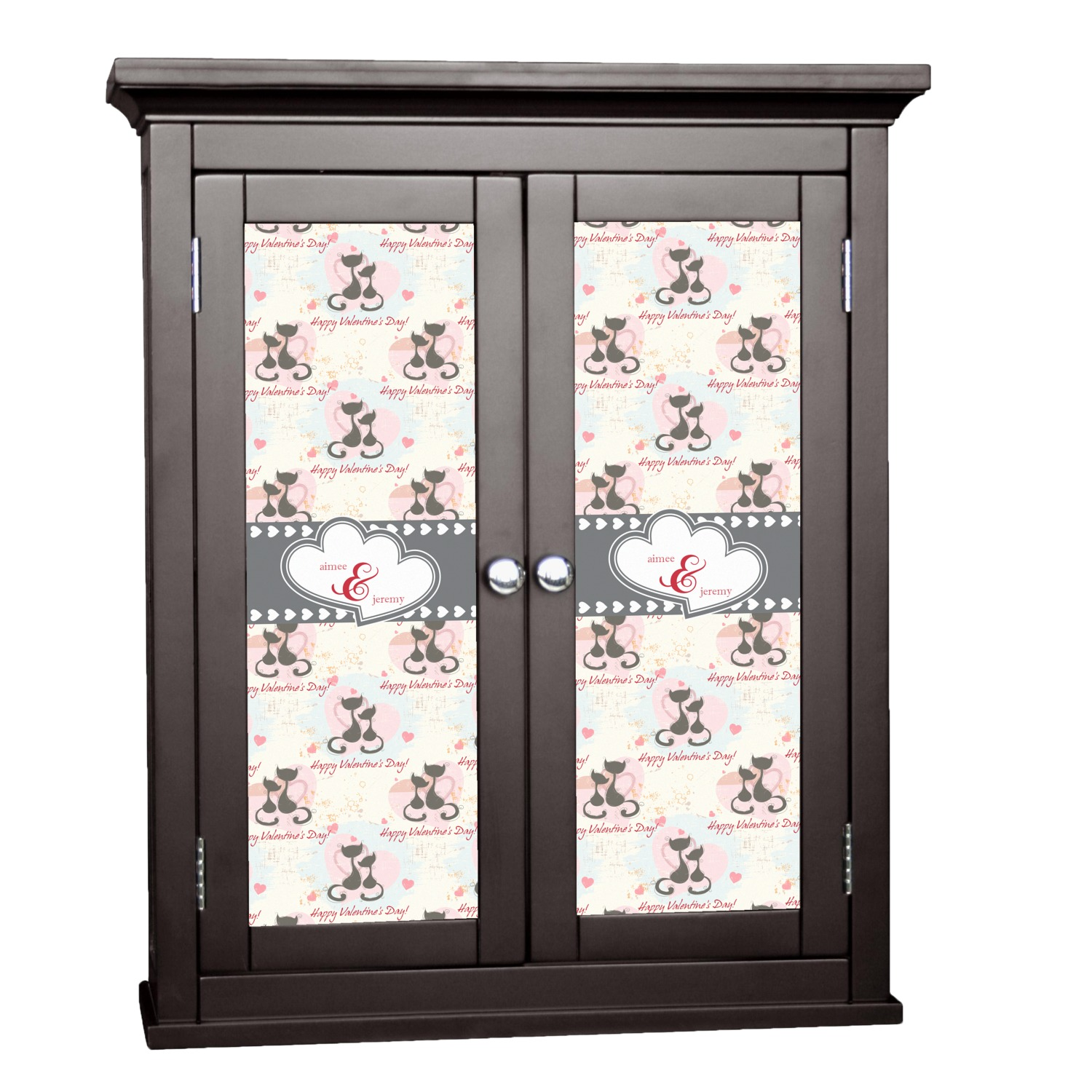 Cats In Love Cabinet Decal Large Personalized