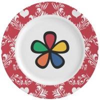 Heart Damask Ceramic Dinner Plates (Set of 4 ...