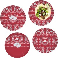 """Heart Damask Glass Lunch / Dinner Plate 10"""" (Personalized ..."""