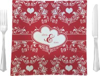 Heart Damask Glass Square Lunch / Dinner Plate 9.5 ...