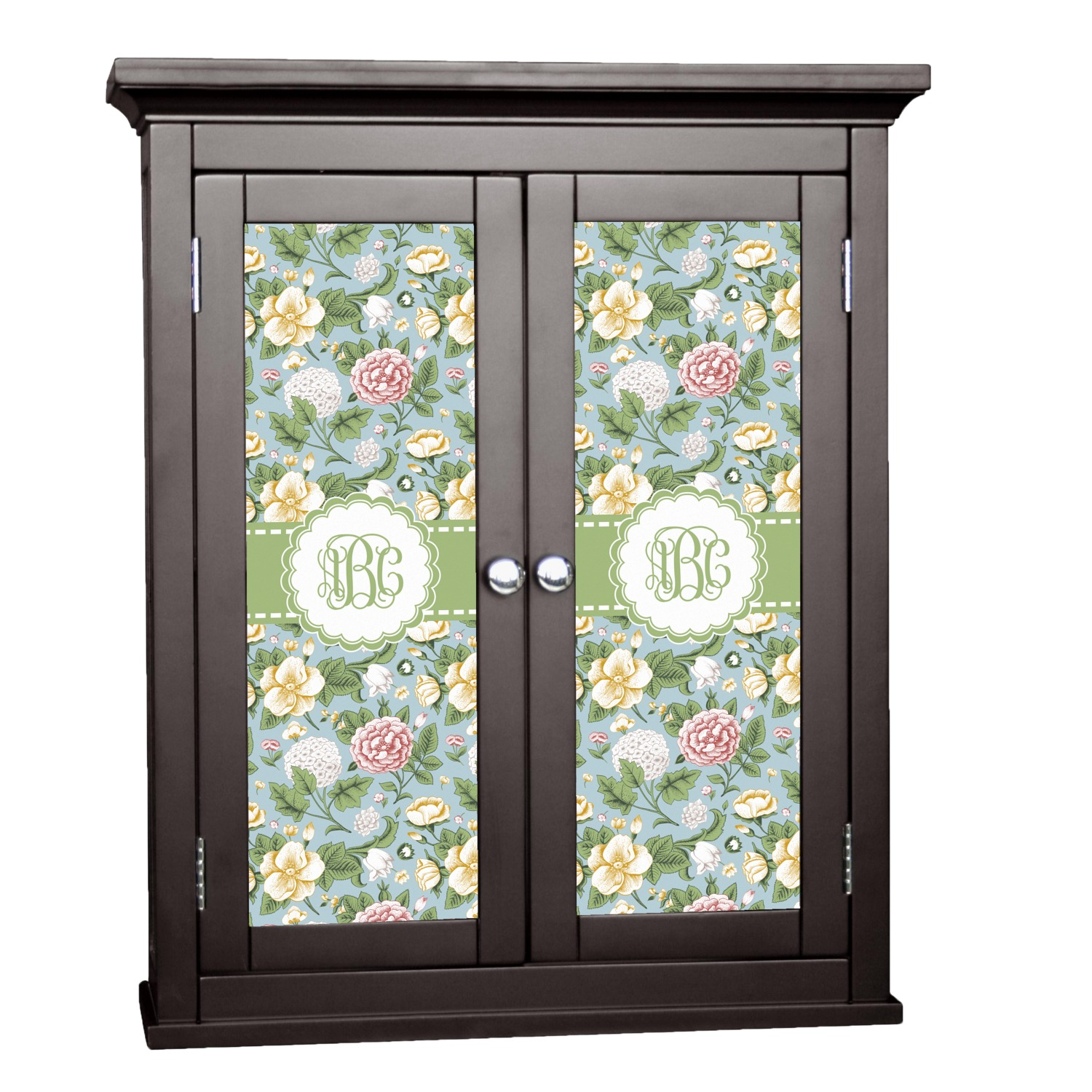 Vintage Floral Cabinet Decal Large Personalized