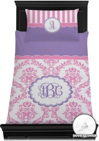 Pink, White & Purple Damask Duvet Cover Set (Personalized ...