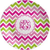 Pink & Green Chevron Melamine Plate (Personalized ...