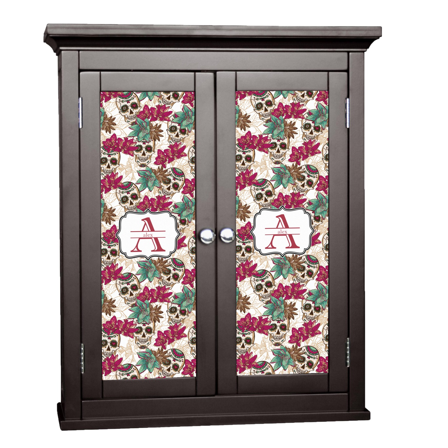 Sugar Skulls Flowers Cabinet Decal Small Personalized