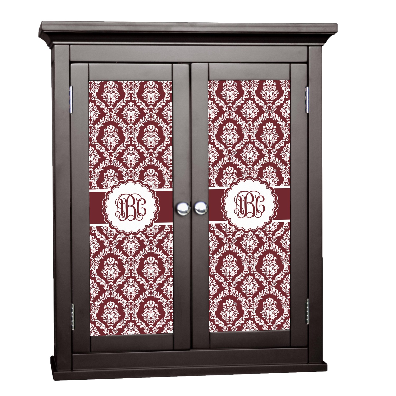 Maroon White Cabinet Decal Custom Size Personalized