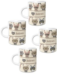 Hipster Cats Espresso Mugs - Set of 4 (Personalized ...
