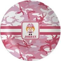 Pink Camo Melamine Plate (Personalized) - YouCustomizeIt