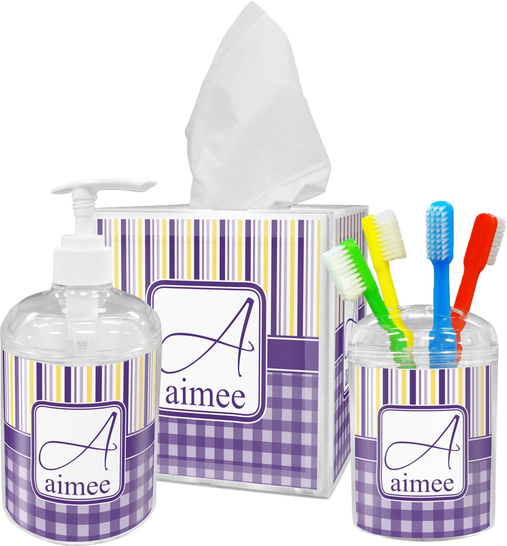 Purple Gingham Stripe Toothbrush Holder Personalized