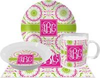 Pink & Green Suzani Melamine Plate (Personalized ...