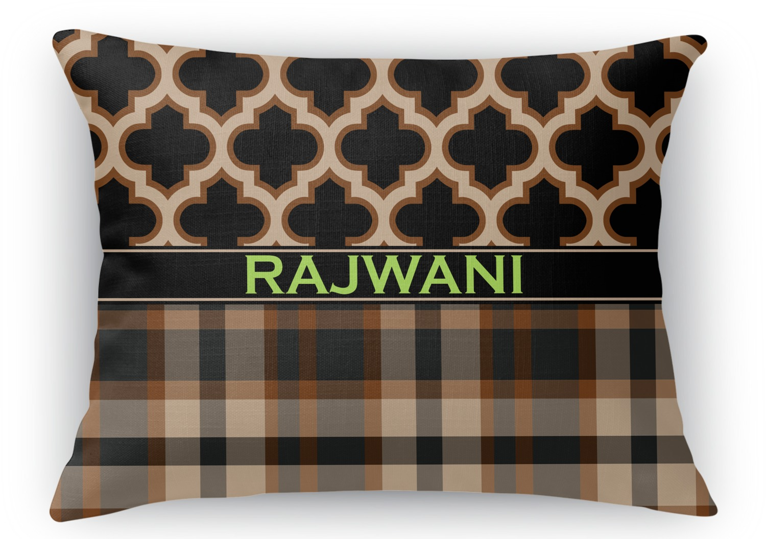 Moroccan Plaid Rectangular Throw Pillow 18quotx24