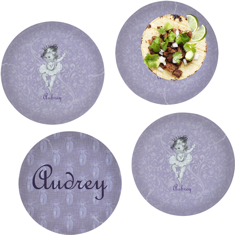 Ballerina Set of 4 Glass Lunch / Dinner Plate 10