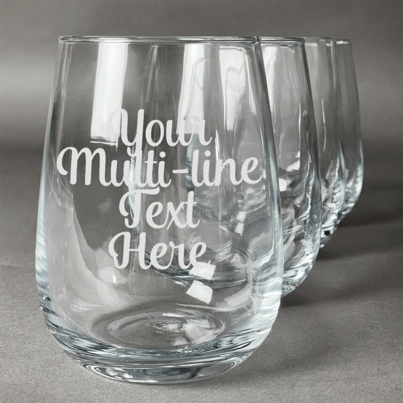 Startling Personalized Stemless Wine Glasses Wedding Personalized Stemless Wine Glasses Wedding Favors Multiline Text Wine Glasses Set Multiline Text Wine Glasses Set