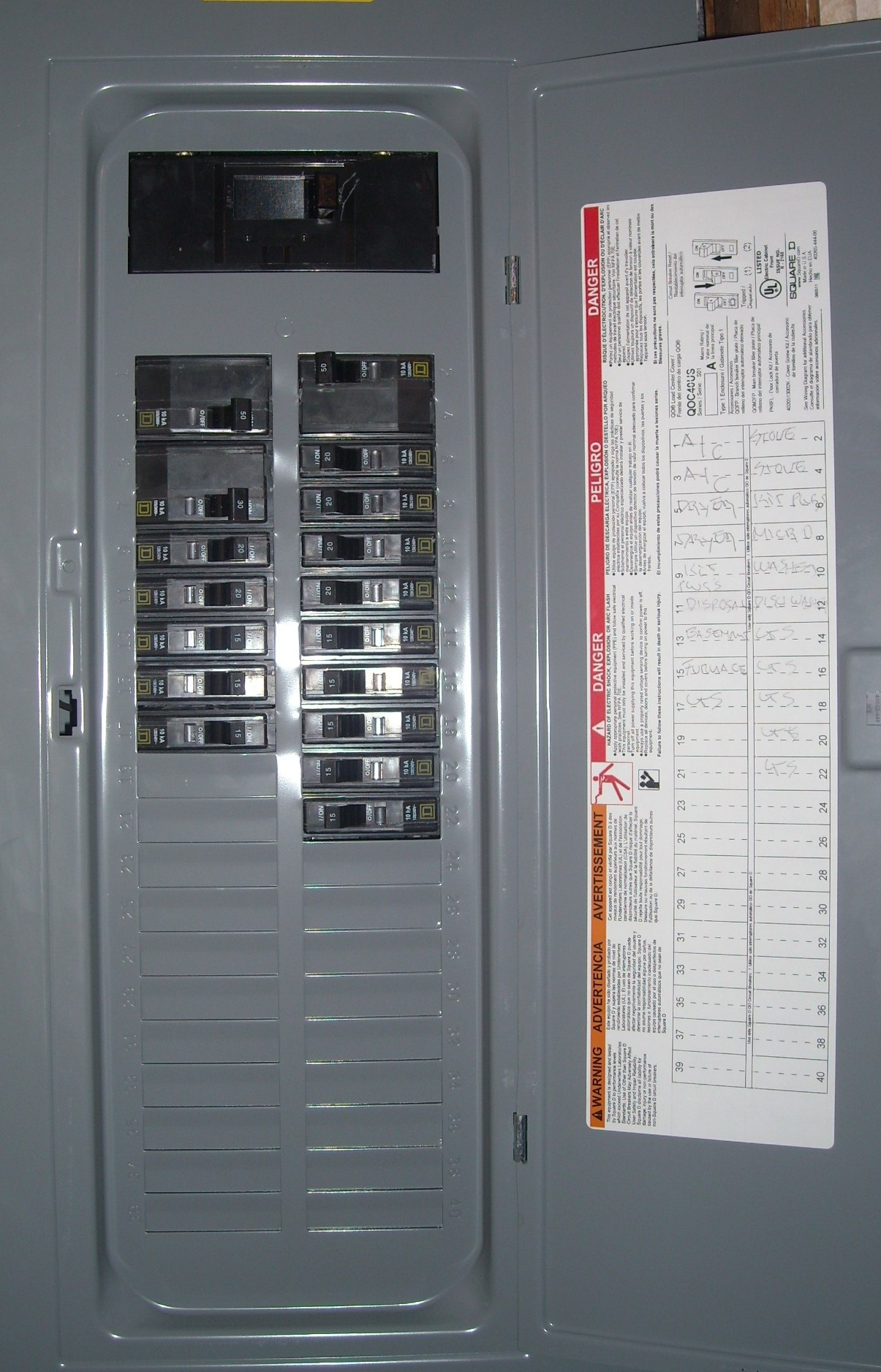 water heater fuse box amps