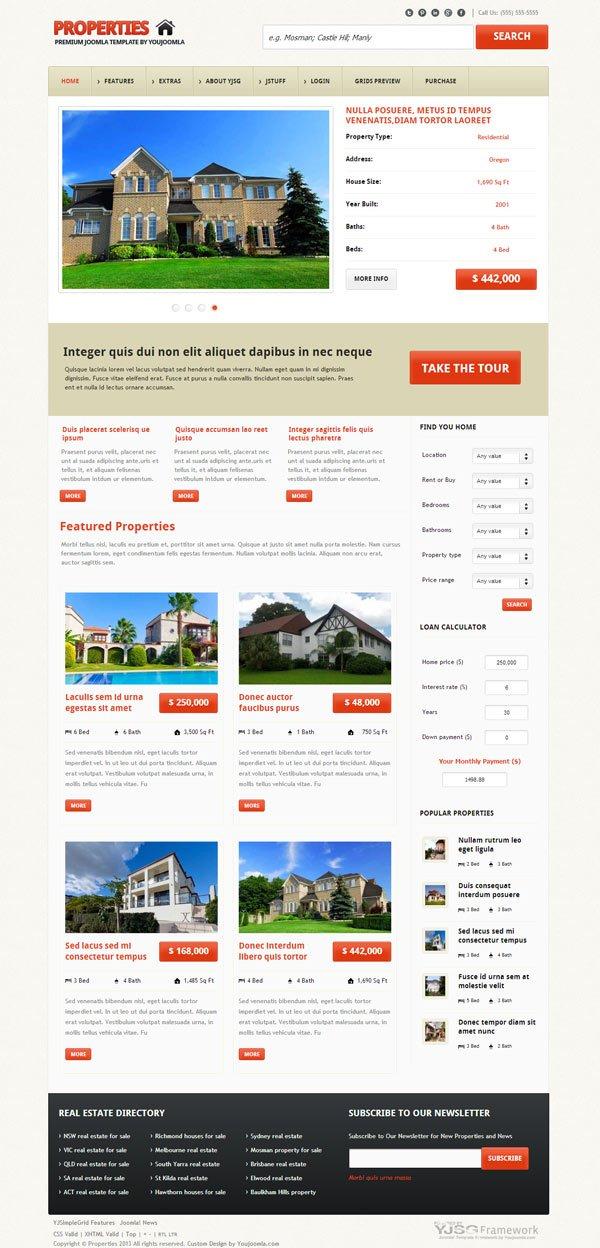 Properties - Responsive Real Estate Joomla Template