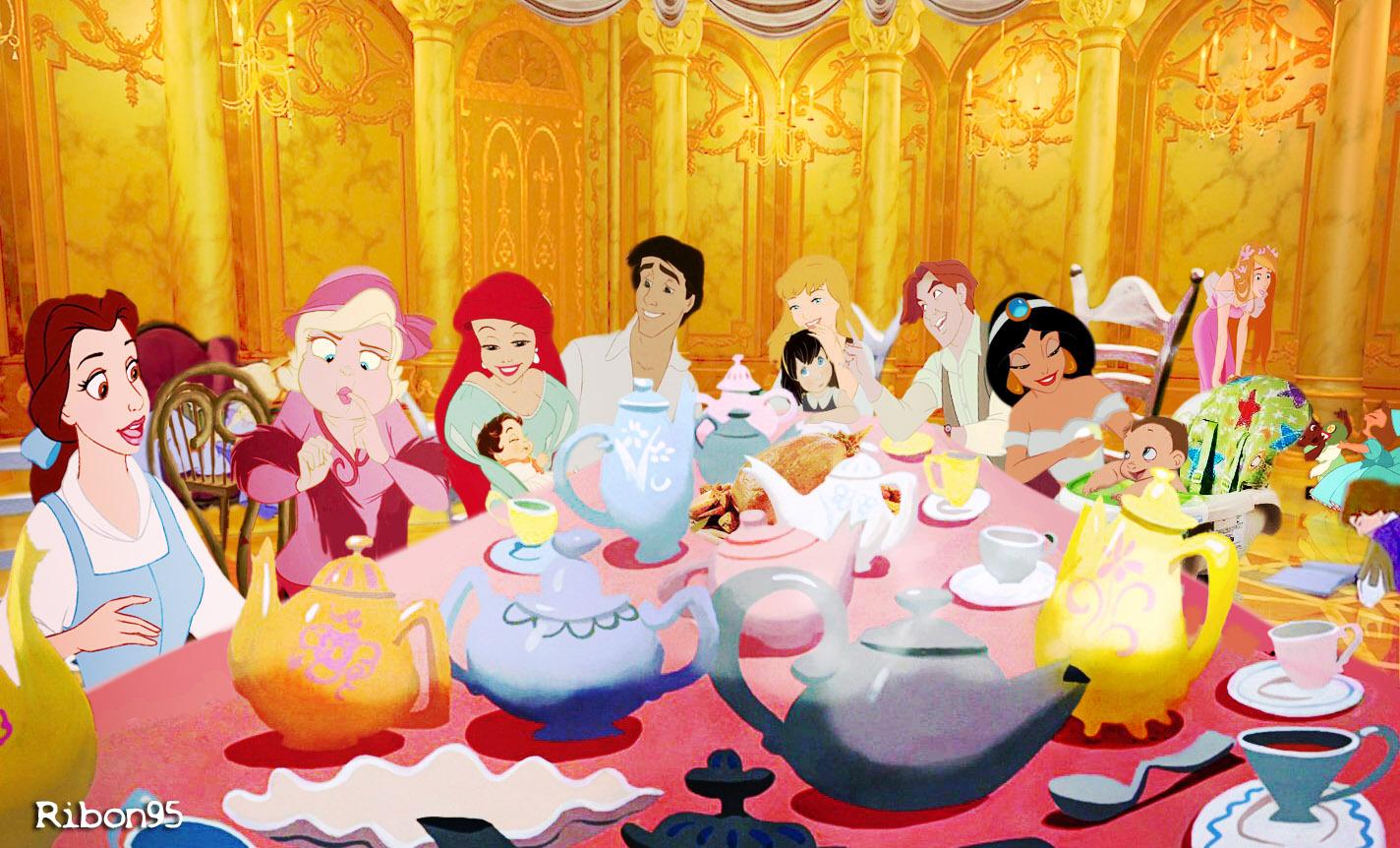 Free Fall Themed Desktop Wallpaper Принцессы Диснея за праздничным столом Дисней Принцессы